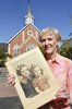 Original title:  Jacqueline Bullock holds a photo of her and her older sister Margaret Hayworth. The church in the background is Knox Presbyterian Church in Burlington where there is a plaque in memory of her sister. Photo courtesy of the Hamilton Spectator, 2016.
