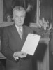 "Titre original :  Prime Minister John G. Diefenbaker with ""Bill of Rights""."