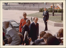 Original title:  [Prime Minister of Canada Pierre Elliott Trudeau greeting President Nyerere of Tanzania arriving for the Commonwealth Conference, Ottawa, 1973].