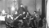 Original title:  Members of the Ottawa School of Art. Left to right: Franklin Brownell, Michel Frechette, William Brymner, John Watts, Frank Checkley and Lawrence Fennings Taylor.