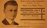 Original title:    Description Election handout for John Diefenbaker, 1926 Date 1926(1926) Source Exhibit at the Diefenbaker Canada Centre, Saskatoon, Canada Author Diefenbaker campaign