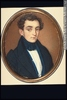 Original title:  Painting, miniature Portrait of Louis Flavian Berthelot, ca. 1834 Guiseppe Fassio About 1834, 19th century 6.5 x 5.3 cm M22346 © McCord Museum Keywords:  male (26812) , Painting (2229) , painting (2226) , portrait (53878)