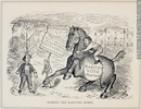 Original title:  Print Scaring the Maritime Horse John Wilson Bengough 1886, 19th century Ink on newsprint - Photoengraving 25.3 x 31.5 cm Gift of Dr. Raymond Boyer M994X.5.273.179 © McCord Museum Description Keywords:  Cartoon (19139) , politics (10928) , Print (10661)