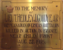 Titre original :  Memorial Plaque from Regal Road Public School, the school in Toronto where the Lieutenant taught before serving his country.