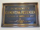 Titre original :  Plaque commemorating Clementina Fessenden, located in St. John's Anglican Church, Ancaster, Ontario.