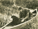 Original title:  Beaver in canoe with Grey Owl.