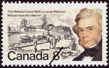 Titre original :  The Welland Canal, 1824, William Hamilton Merritt = Le canal Welland, 1824, William Hamilton Merritt [philatelic record].  Philatelic issue data Canada : 8 cents Date of issue 29 November 1974