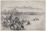 Original title:  The Blackfoot Indians under Crowfoot crossing the Bow River, September 10, 1881.