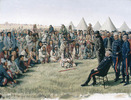 Titre original :  The Surrender of Poundmaker to Major-General Middleton at Battleford, Saskatchewan, on May 26, 1885 / Poundmaker rendant les armes au major-général Middleton à Battleford, Saskatchewan, le 26 mai 1885.