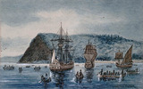 Original title:  Arrival of Jacques Cartier at Stadacona, 1535.
