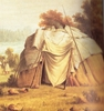 Titre original :    Ojibwa wigwam. Detail from a painting (1846) by Paul Kane (1810-71).