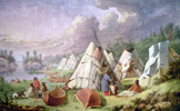 Original title:    An oil painting by Paul Kane depicting an Ojibwa camp on the shores of Georgian Bay, on Lake Huron entitled Encampment Among The Islands Of Lake Huron. Photo taken Jan 10 2006 at the Royal Ontario Museum. Minor tweaking with PhotoShop in order to make a level, squared image. Paul Kane died in 1871, therefore work is in the public domain.
