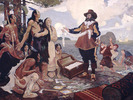 Original title:  Champlain Trading with the Indians.