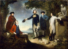 "Original title:    Description Captain James Cook, Sir Joseph Banks, Lord Sandwich, Dr Daniel Solander and Dr John Hawkesworth. Oil on canvas, 120 x 166 cm. By John Hamilton Mortimer. (Title devised by cataloguer). The people portrayed are, from left to right, Dr Daniel Solander, Sir Joseph Banks, Captain James Cook, Dr John Hawkesworth, and John Montagu, 4th Earl of Sandwich. Date 1771(1771) Source National Library of Australia (NLA) digital collections: http://nla.gov.au/nla.pic-an7351768 In publishing this image on their website, the NLA request that users cite the artist, title, the National Library of Australia as the custodian of the original work and their catalogue reference number. Readers of Wikipedia will see there is an ""imagemap"" for this picture which links the people in the painting to their respective biographies in Wikipedia. Author John Hamilton Mortimer (1740-1779). Previously a"