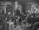 Original title:  Boys' class in carpentry at Sir Wilfred Grenfell's mission school at St. Anthony, Nfld., c. May 1906.
