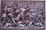 "Original title:    Description Français : Mort héroïque de Dollard au Long Sault. Bas-relief de Louis-Philippe Hébert, 1895, Monument à Maisonneuve, Place d'Armes, Montréal. Date 23 May 2011(2011-05-23) Source Own work Author Jean Gagnon  Camera location 45° 30' 17.25"" N, 73° 33' 26.18"" W This and other images at their locations on: Google Maps - Google Earth - OpenStreetMap (Info)45.504792;-73.557273"