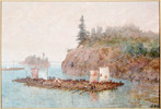 Original title:    Description The Lumber Raft - watercolour and gouache over graphite on laid paper. Date circa 1868(1868) Source Library and Archives Canada, Acc. No. R9266-278 This image is available from Library and Archives Canada This tag does not indicate the copyright status of the attached work. A normal copyright tag is still required. See Commons:Licensing for more information. Library and Archives Canada does not allow free use of its copyrighted works. See Category:Images from Library and Archives Canada. Author Hopkins, Frances Anne (1838-1919) Permission (Reusing this file) Copyright expired