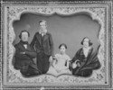 Original title:  Thomas Kirkpatrick and his family. From left to right: Thomas Kirkpatrick, a son of about 15 years old (George Airey?), a daughter (Helen Lydia?), Mrs. Thomas Kirkpatrick (née Helen Fisher)
