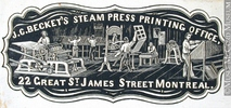Original title:  Engraving Commercial crest of J. C. Becket's Steam Press Printing Office John Henry Walker (1831-1899) 1850-1885, 19th century Ink on paper on supporting paper - Wood engraving 5.1 x 10.7 cm Gift of Mr. David Ross McCord M930.50.7.214 © McCord Museum Keywords:  commercial (1771) , Print (10661) , Sign and symbol (2669)