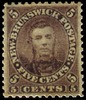 Titre original :    Description English: Five cent postage stamp of the colony of New Brunswick (now a province of Canada), featuring the image of Charles Connell (1810 – June 28, 1873). Cornell was a Canadian politician, now remembered mainly for placing his image on a postage stamp. In 1858, Connell was appointed Postmaster General of the colony, and in 1859 he chose to depict himself on the 5-cent stamp, instead of Queen Victoria. In an effort to stem the criticism and charges of extreme arrogance, he offered to buy up all the stamps and burned them publicly on the front lawn of his house. He also resigned his office as postmaster general. It is unknown how many stamps survived, but they number no more than a few dozen and are now extremely rare. Français : Copie du fameux timbre de Charles Connell. Connell (1810-1873) était un marchand et un homme politique canadien du Nouveau-Brunswick. Sous l