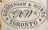 Original title:  Engraving Commercial crest of Gooderham & Worts John Henry Walker (1831-1899) 1850-1885, 19th century Ink on paper on supporting paper - Wood engraving 4 x 6 cm Gift of Mr. David Ross McCord M930.50.1.856 © McCord Museum Keywords:  commercial (1771) , Print (10661) , Sign and symbol (2669)