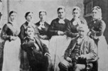 Original title:  Staff and First Graduating Class of the Mack Training School for Nurses, 1878.