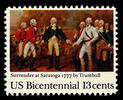 Original title:    Description English: USPOD 13-cent American Bicentennial stamp issued in 1977 for the 200th anniversary of the surrender of General John Burgoyne (1723-1792) (British commander} to General Horatio Gates (1726–1806) (US commander) at Saratoga Date USPOD issued this stamp on October 7, 1977 (2006-12-05 (original upload date)) Source Originally from en.wikipedia; description page is/was here. Author Original uploader was Serjmooradian at en.wikipedia