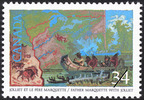Titre original :  Jolliet et le Père Marquette = Father Marquette with Jolliet [philatelic record].  Philatelic issue data Canada : 34 cents