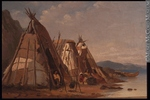 Titre original :  Painting Three Montagnais, Wigwams, Murray Bay William Raphael About 1875, 19th century Oil on canvas 30.2 x 44.8 cm Gift of Mrs. W. D. Lighthall M6016 © McCord Museum Keywords:  Painting (2229) , painting (2226) , Waterscape (2986)