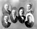 Titre original :    Description English: Alberta's first cabinet. Top left: William Thomas Finlay, Minister of Agriculture. Bottom left: Henry William Cushing, Minister of Public Works. Centre left: Alexander Cameron Rutherford, Premier. Centre right: George Bulyea, Lieutenant-Governor. Top right: Charles Wilson Cross, Attorney-General. Bottom right: L. George DeVeber, Minister without Portfolio. Date 1905 (compiled with photos taken before 1905) Source Provincial Archives of Alberta (Standard Number: A1382). A smaller, darker version is available as Standard Number: A1381. A published version with rough words drawn over it can be seen at this ancestry.com site on William Henry (Hon) Cushing). Author Unknown Permission (Reusing this file) Public domainPublic domainfalsefalse This Canadian work is in the public domain in Canada because its copyright has expired due to one of the following: 1. it was