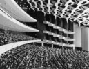 Original title:  Interior view of Theatre Salle Wilfrid Pelletier and crowd at Expo 67.