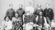 Original title:    Description Group of nine taken in the square of the North-West Mounted Police Barracks, at Regina (Saskatchewan) Poundmaker, Big Bear, Big Bear's son, Father Andre, Father Conchin, Chief Stewart, Capt. Deane, Mr. Robertson, and the Court Interpreter Date 1885(1885) Source This image is available from Library and Archives Canada under the reproduction reference number C-001872 and under the MIKAN ID number 3260668 This tag does not indicate the copyright status of the attached work. A normal copyright tag is still required. See Commons:Licensing for more information. Library and Archives Canada does not allow free use of its copyrighted works. See Category:Images from Library and Archives Canada. Author O.B. Buell Permission (Reusing this file) PD-Canada