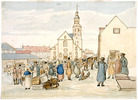 Original title:  Winter View of the Upper Town Market showing the Catholic Cathedral and Seminary / Le marché de la Haute-Ville, la basilique et le séminaire en hiver.