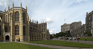 Original title:  Windsor Castle, The Lower Ward (l to r), St George's Chapel, the Lady Chapel, the Round Tower, the lodgings of the Military Knights, and the residence of the Governor of the Military Knights.