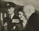 Original title:  Copy print of Princess Elizabeth, Prince Philip and Prime Minister Louis St. Laurent.
