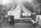 Original title:  [Joe (Seraphim) Fortes in front of his tent at English Bay] Matthews, James Skitt, Major (1878-1970)