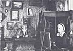Original title:  Photograph of Charlotte M.B. Schreiber in her studio. Charlotte M.B. Schreiber, working in her studio at Erindale, Ontario, 1895. Source: Art. Toronto, Society of Canadian Artists. -- 5 v. ill. (some col.) 28 cm. -- (Fall 1973). -- Vol. 5, no. 15. -- ISSN 0004-3257. -- P. 19.