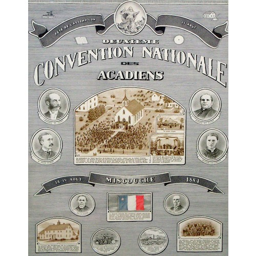 Original title:  Poster for the second Acadian national convention in Miscouche, 1884
