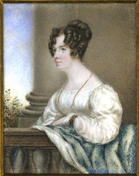 Original title:  Anne Langton, self-portrait [watercolour miniature on ivory]. 1827. Archives of Ontario.