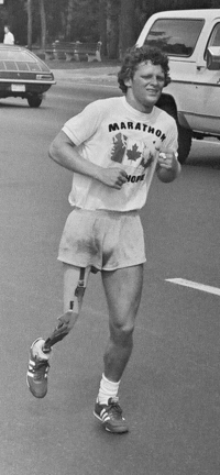 "Titre original :    Description English: Photo of Terry Fox, Canadian cancer fund-raiser, during his 1980 ""Marathon of Hope"" fund-raising run across Canada. Photo taken July 12, 1980 in Toronto, Ontario, Canada by Jeremy Gilbert with his Praktika SLR 35 mm camera on Bloor Street East, near entrance to Castle Frank subway station, looking south-east towards Castle Frank Road as Fox heads west along Bloor Street. Date 12 July 1980 Source Transferred from en.wikipedia Author Jeremy Gilbert Permission (Reusing this file)   The permission for use of this work has been archived in the Wikimedia OTRS system. It is available here for users with an OTRS account. If you wish to reuse this work elsewhere, please read the instructions at COM:REUSE. If you are a Commons user and wish to confirm the permission, please leave a note at the OTRS noticeboard. Ticket link: https://ticket.wikimedia.org/otrs/index.pl?A"