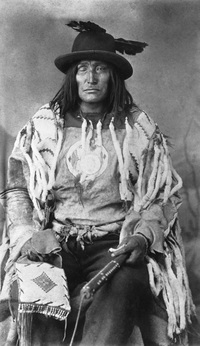 Original title:  Bull Head, chief of the Sarcee (Tsuut'ina) [ca. 1890-1894].  Photographer/Illustrator: Ross, Alexander J., Calgary, Alberta.  Image courtesy of Glenbow Museum, Calgary, Alberta.