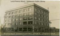 Original title:  Courtesy Saskatoon Public Library. J.F. Cairns Dept Store No. 4, at corner of 23rd and 2nd Avenue. [ca. 1913]  Creator/Photographer:	Middleton Photo?