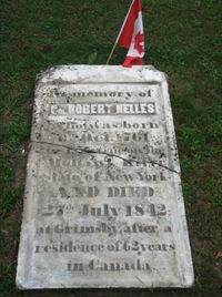 Original title:  Gravestone of Robert Nelles at St. Andrews Anglican Church, Grimsby, Ontario. Photo by Allan Smith, 2018.