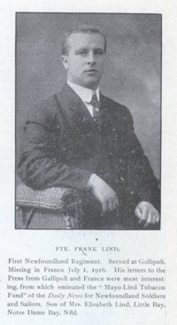 Original title:  Photo of Francis Thomas Lind – from the Digital Collection at the Canadian Virtual Memorial: http://www.veterans.gc.ca/eng/remembrance/memorials/canadian-virtual-war-memorial/.