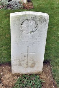 Original title:  Gravestone of Augustine Emmanuel ('Gus') Lambert – from the Digital Collection at the Canadian Virtual Memorial: http://www.veterans.gc.ca/eng/remembrance/memorials/canadian-virtual-war-memorial/.