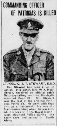 Original title:  Photo of Charles James Townshend Stewart in the Winnipeg Tribune, 7 October 1918 – from the Digital Collection at the Canadian Virtual Memorial: http://www.veterans.gc.ca/eng/remembrance/memorials/canadian-virtual-war-memorial/.
