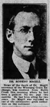 Original title:  Robert Magill. Winnipeg Tribune, 15 January 1930, page 1.