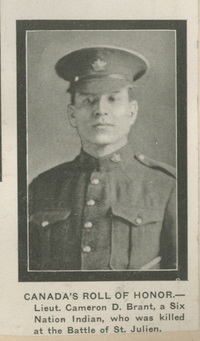 Original title:  Lieut. Cameron D. Brant. Image courtesy of the Simcoe County Archives, Annie Boyes Fonds (https://www.simcoe.ca/dpt/arc).
