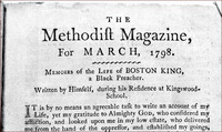 "Original title:  Title page of Boston King's memoirs: ""Memoirs of the Life of BOSTON KING, a Black Preacher. Written by Himself, during his Residence at Kingswood-School,"" as published in The Methodist Magazine, 1798."