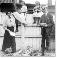 Original title:  Fannie McNeil, ca. 1910, with her husband, Hector, and daughters Betty and Margaret. Image courtesy of Archives and Special Collections (William Knowling, Collection MF-276), Queen Elizabeth II Library, Memorial University of Newfoundland, St. John's, NL.